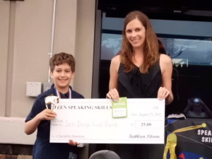 Academy for Public Speaking Graduate Wins a Donation for the San Diego Food Bank