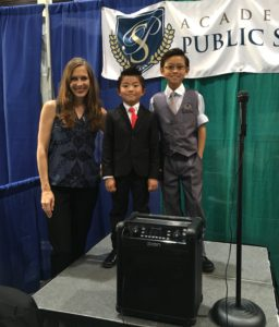 Academy for Public Speaking graduates Mark and Conner Lee at the San Diego Kids Expo
