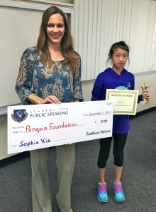 Sophia Scores 1st Place & Wins a Donation for the Penguin Foundation