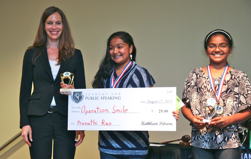 Academy for Public Speaking Graduate Pranathi Wins 1st Place & a Donation for Operation Smile!