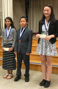 2016 Allied Gardens Optimist Club Oratorical Contest Winners - Academy for Public Speaking graduates Natasha, Ethan, and Jocelyn